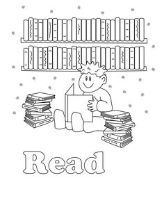 coloring pages of library books - photo#44