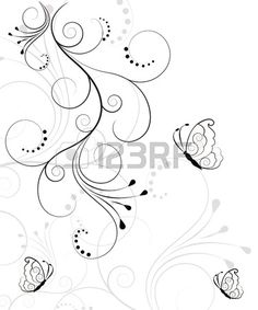 Illustration of Beautiful, abstract floral background vector art, clipart and stock vectors. Butterfly Tattoos Images, Tattoo Images, Swirl Tattoo, Easy Flower Drawings, Tattoo Skin, Butterfly Flowers, Pretty Patterns, Stock Pictures, Stock Photos