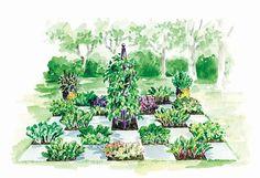 Marjorie Harris' Partially-Shaded Checkerboard Edible Garden #garden #edibles #ediblegarden