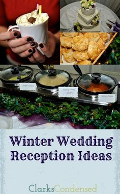 Winter Wedding Reception Food Ideas. I'm thinking, soup salad, and sandwiches.