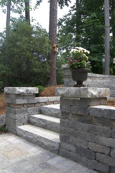 Yorkshire™ Wall, shown in Granite, is a tumbled, single-piece system that is perfect for garden wall applications. Because of the wall's symmetry, it can be turned in different directions to create a unique look. It's also great for applications such as pilasters and columns. Free Standing Wall, Single Piece, Columns, Granite, Sidewalk, Canning, Create, Garden, Unique