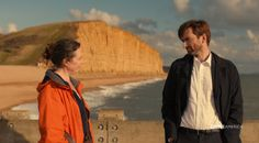 'Broadchurch' creator Chris Chibnall and star David Tennant talk the reveal of Trish's rapist in the series finale and Hardy and Miller's future. David Tennant Twitter, Olivia Coleman, Broadchurch, Star David, Filming Locations, Movies And Tv Shows, Seaside Towns, Ghosts, Life Lessons