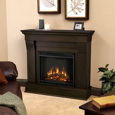 This indoor electric fireplace features crisp lines and a classic stone mantel, making it the perfect focal piece for any living room. Pull your decor together with the realistic beauty and functionality of this contemporary electric fireplace.