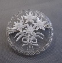 Classic 30s Reverse Carved Edelweiss Brooch, Beautiful!