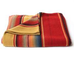 Soft Serapes and Blankets, Handmade in Mexico Serape Fabric, Red Blanket, Vintage Surf, Textiles, Merino Wool, Mid-century Modern, Mustard, Retro, Knitting