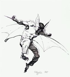Mike Mignola - Man-Bat Sketch Original Art Produced six years before the first appearance of his - Available at Sunday Internet Comics Auction. Comic Book Artists, Comic Artist, Comic Books Art, Bat Sketch, Dc Comics, Mike Mignola Art, Comic Kunst, Bristol Board, Batman Art