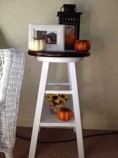 Fall decor, love the repurposed bar stool!