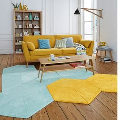 30 Fantastic Summer Living Room Decor Ideas ~ Home Decor Journal Living Room Decor Colors, Colourful Living Room, Room Colors, Blue And Yellow Living Room, Yellow Interior, Yellow Home Decor, New Interior Design, Interior Ideas, Contemporary Interior