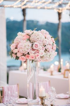 Pink Tall Wedding Centerpiece - Bush Wedding Photography