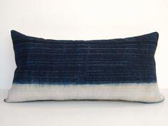 Lumbar pillow, Hmong pillow cover, Indigo pillow, Batik Pillow, Tribal pillow, Hand Print batik pillow, Ethnic Pillowcase, Oblong pillow by DeliriumDecor on Etsy https://www.etsy.com/listing/257344761/lumbar-pillow-hmong-pillow-cover-indigo