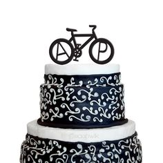 Personalized Wedding Cake Topper - Bicycle Monogram Initials Cake Topper - Unique Custom Bike Wedding Cake Topper - Peachwik - PT4 Letter Cake Toppers, Flower Cake Toppers, Bike Wedding, Wedding Vows, Wedding Ideas, Wedding Anniversary, Wedding Decor, Wedding Reception, Bicycle Cake