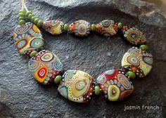 jasmin french ' desert nomads ' lampwork beads by jasminfrench