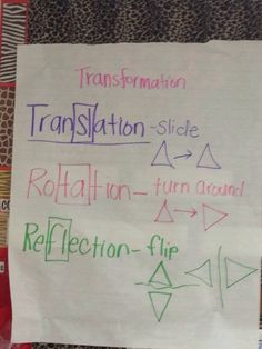"Translation, Rotation, Reflection: Disney teachers ~ remember to have student copy this into their math journals!"" Refer to it often when instructing, as well as having the students refer to it while completing work. Math Tutor, Math Teacher, Math Classroom, Teaching Math, Classroom Ideas, Teaching Geometry, Teacher Stuff, Maths 3e, Math Math"