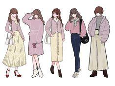 Korean Girl Fashion, Cute Fashion, Fashion Art, Fashion Outfits, Fashion Design Drawings, Fashion Sketches, Paar Style, Anime Outfits, Cute Outfits