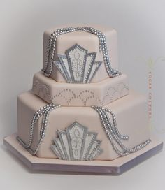 Sugar Couture UK, blush pink and silver art deco wedding cake