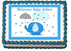 BLUE ELEPHANT Edible Baby Shower Party By Mycaketopperdesigns