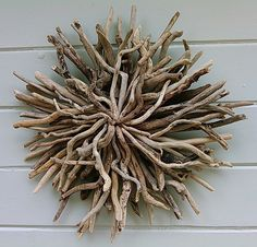 Driftwood Sunburst Rustic Wall Sculpture by BurlgirlCreations