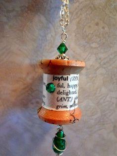 Vintage Spool Pendant   Joyful  Thread Spool Jewelry   repurposed Upcycled Spools item 1930