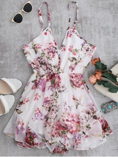 Cami Floral Chiffon Holiday Romper - WHITE S