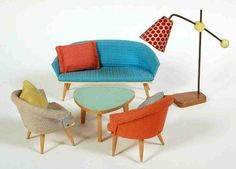 Vintage dollhouse living room set from Bodo Hennig with the rare original cushions Vintage Dollhouse, Modern Dollhouse, Dollhouse Dolls, Miniature Dolls, Vintage Dolls, Dollhouse Miniatures, Miniature Furniture, Dollhouse Furniture, Barbie Furniture