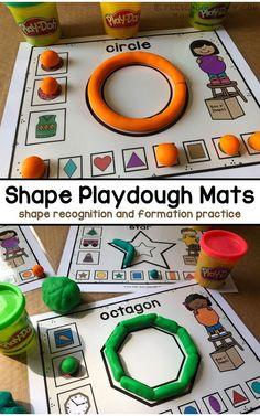 Shape Playdough Mats - Preschool Play