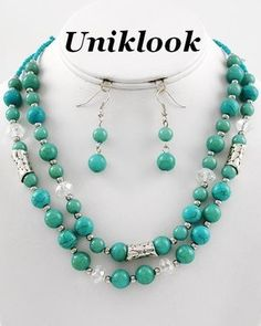Bold Turquoise Stones Silver & Ab Acrylic Beaded Chunky Necklace Earrings Set