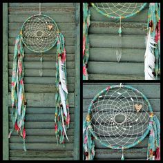 Dream Catcher - charlotte - shabby chic - cottage chic -  boho - white - cream - romantic - vintage chandelier crystals - dreamcatcher