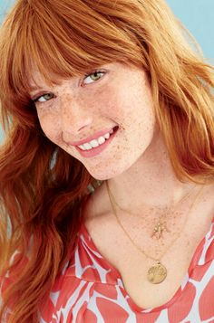 Wow!!!! This is the best!!! Light Red Hair, Green Eyes, Bangs and Freckles.