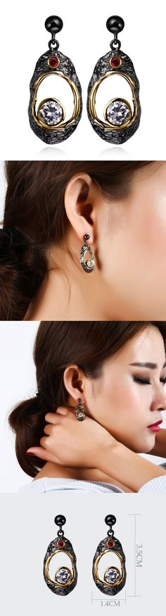 Aliexpress.com : Buy Vintage women Earrings black & gold plated with Cubic zircon long drop Earrings fashion jewelry free shipment from Reliable women earings suppliers on YY FASHION JEWELRY STORE