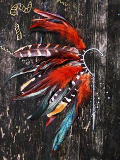 Feather Ear Cuff - Fire Tiger. $31.00, via Etsy.