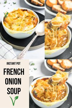 The best French Onion Soup you'll ever try!! My vegetarian take on this rich and indulgent dish boasts flavors of caramelized onions, toasty buttered croutons, sweet thyme and of course, melted gooey cheese. #ministryofcurry #instantpot Best Vegetarian Recipes, Delicious Dinner Recipes, Best French Onion Soup, Instant Pot Dinner Recipes, Caramelized Onions, Lunch Ideas, Slow Cooker Recipes, Fall Recipes, Curry