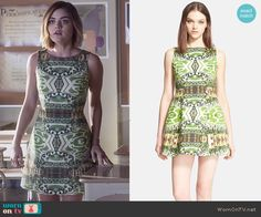 Aria's green printed dress on Pretty Little Liars.  Outfit Details: http://wornontv.net/51069/ #PLL