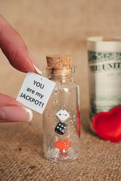 Personalized gift for girlfriend boyfriend Tiny gift for her Message in a bottle Tiny Love cards Greeting cards Funny love card Valentine card
