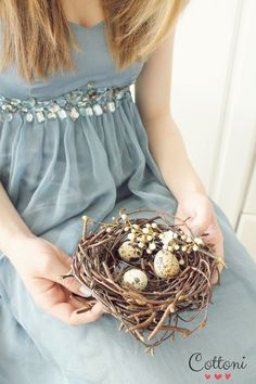 Treasures to Hold - Spring, Easter; blue, brown; eggs in nest