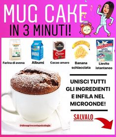 ⚠️Buongiorno nuovo esperiment Fast Healthy Meals, Healthy Sweets, Healthy Cooking, Healthy Recipes, Cake Light, Sports Food, Microwave Recipes, 1200 Calories, No Calorie Foods
