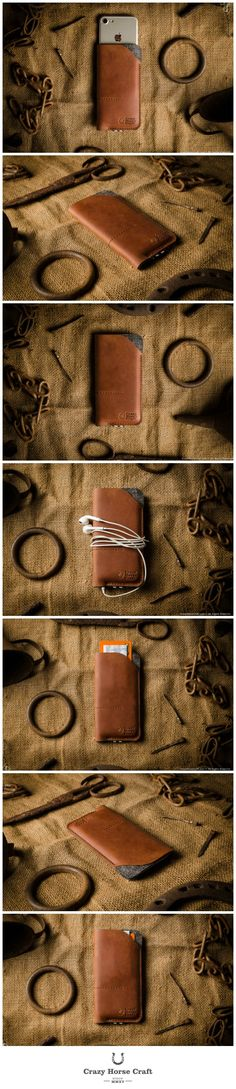 Leather iPhone Case / Wallet with Card Pockets   Classic Orange