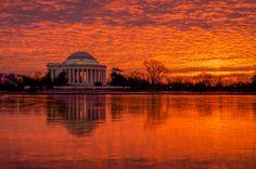 sunrise sunset spectacular in Washington DC, Feb. 7, 2015