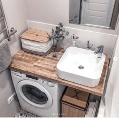 I want to add some color! Looks like my maximum is dried eucalyptus. Laundry Room Design, Home Room Design, Bathroom Design Small, Bathroom Layout, Bathroom Interior Design, Tiny House Bathroom, Laundry In Bathroom, Bad Inspiration, Bathroom Inspiration