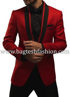 Stylish Red Jute One Button Tuxedo Suit,Red