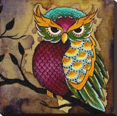 Owl Art Print by Artist Brittany Morgan. Owl art print by artist Brittany Morgan. Made by Black Market Art Company. Art print size x x cm). Cute Birds, Cute Owl, Owl Art, Bird Art, Stretched Canvas Prints, Canvas Art Prints, Tree Branch Tattoo, Tattoo Tree, Painted Rocks