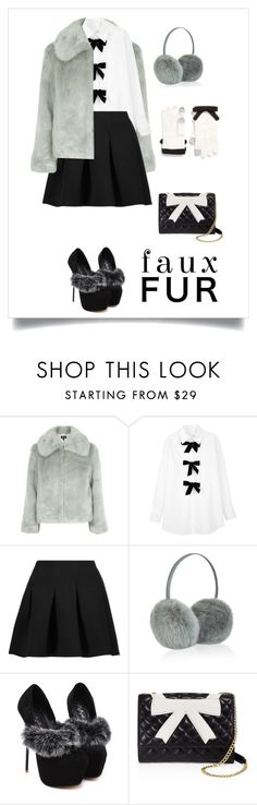 """""""Faux Fur Coat"""" by starria ❤ liked on Polyvore featuring Topshop, See by Chloé, T By Alexander Wang, Accessorize, Boutique Moschino and Kate Spade"""