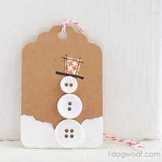 Button Snowman gift tag - adorable!!