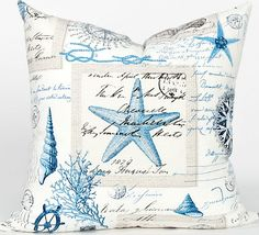 Coastal pillows from the Designer Pillow Shop! Featured on CC: http://www.completely-coastal.com/2015/02/coastal-nautical-luxury-designer-pillows.html