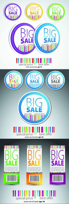 Color label barcode vector graphics download | Vector appliances