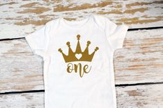 A personal favorite from my Etsy shop https://www.etsy.com/listing/291784773/crown-onesie-first-birthday-12-months