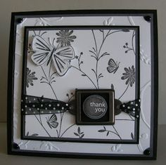 """Me, My Stamps and I: Amazing Butterfly Stamps: Pretty Petals, Pretty Amazing, In The Spotlight Paper: Basic Black, Basic Gray, Wjisper White Ink: Basic Gray, Black Craft Accessories: HPH, Brads, Ribbon, Stickles Tools: Circle Punches, Dimensionals, Slit Punch 1/16"""" Punch"""