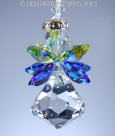 Suncatcher m/w Swarovski Crystal BELL ANGEL by LilliHeartDesigns