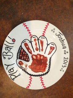 Paint your own pottery makes a unique and personal Father's Day gift! Hand print mitt is just adorable! Bible School Crafts, Fathers Day Crafts, Crafts To Do, Crafts For Kids, Arts And Crafts, Kids Diy, Decor Crafts, Craft Activities, Preschool Crafts