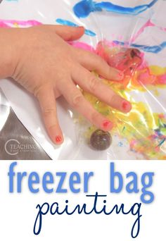 Freezer Bag Painting for Preschoolers is a fun way to explore paint without actually touching it. Children with sensory issues especially like this activity! Great fine motor as the marble is pushed around the bag, mixing the paint. From Teaching 2 and 3 Year Olds