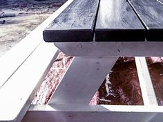 How to DIY Finish an Outdoor Picnic Table by MyOutdoorPlans - Building Our Rez Painting Outdoor Wood Furniture, Outdoor Picnic Tables, Exterior Paint, Backyard Landscaping, Home Projects, Outdoor Living, Patio, Landscape, Building